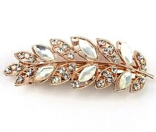 White Crystal Leaves Gold Tone Hair Barrette Clip UK Shop
