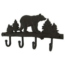 Metal Wall Mount Black Bear Hook 4 Hooks Key Ring Organizer/Hat Holder/Coat Rack