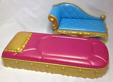 Barbie Doll Diamond Castle Princess Bed & Chaise Chair Dollhouse Furniture HTF