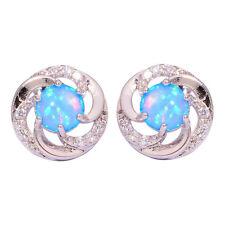 Blue Fire Opal Zircon Silver Women Jewelry Gemstone Stud Earrings 13mm OH3832