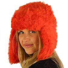 Ladies Winter Faux Fur Furry Trooper Trapper Pilot Ear Flap Hat Cap Orange Red