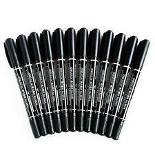 Brand New 12 Pcs  Black Permanent Marker Pen Sharpies Bulk Text Fine Point Set