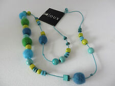 BOHEMIAN HIPPY BLUE YELLOW GREEN WOOD & FABRIC COVERED BEAD CORDED NECKLACE New