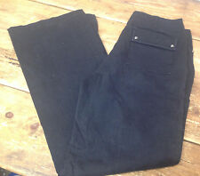 "Ann Taylor Black Denim Jeans Pants Trousers Juniors 5 Pockets 30"" Waist Flaps 4"