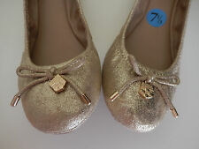 NEW Vince Camuto Eryn Ballet Flat Shoes Gold Leather 7.5