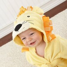 lovely lion yellow baby infant Bath Hooded TERRY Towel Robe for fun bathtime