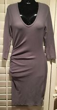 NEW James Perse Standard Grey Ruched 3/4 Sleeve Dress LRG Size 3 RTL $225