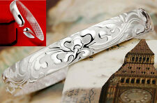 Fashion 925 Silver flowers Engraved nice Bracelet women's Bangle open size