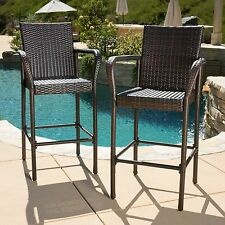 0(Set of 2) Contemporary Outdoor Brown Wicker Barstool
