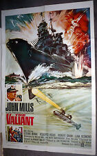 THE VALIANT original 1962 WW2 movie poster BRITISH BATTLESHIP 1sheet JOHN MILLS