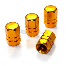 (4) Yellow Gold Aluminum Tire/Wheel Pressure Valve Stem CAPS for Auto-Car-Truck