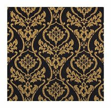 Wallpaper Metallic Gold Damask on Black Background