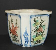"Blue & White Hand Painted SQUARE Floral Ceramic PLANTER Pot  8"" x 6.75"""