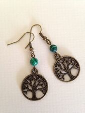 Earrings Tree of Life Bronze Malachite Ethnic Boho  Festival Tribal Bohemian