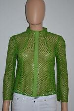 Akris Green Cotton Open Crochet Squares Zipper Cardigan/Jacket Size 6