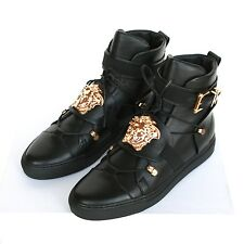 VERSACE gold metal medusa head hi top sneakers Palazzo shoes 39-Italy/6-US NEW