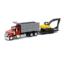 NEWRAY 1:43 LONG HAUL TRUCKER INTERNATIONAL LONESTAR DUMP TRUCK WITH EXCAVATOR