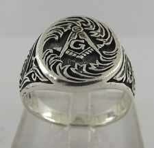 New Sterling Silver 925 Masonic Square & Compass Ring Mason Ring Size 12