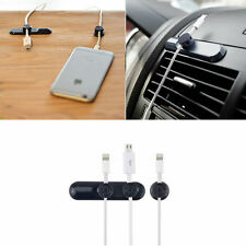 Black Magnetic USB Cable Clip Car Desk Tidy Organiser Wire Lead USB Cable Holder
