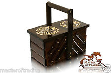 Great 23cm Decorated Dark Wooden Handcrafted Sewing Jewellery Box