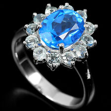 Natural Swiss & Sky Blue TOPAZ Stones 925 STERLING SILVER RING S6.25
