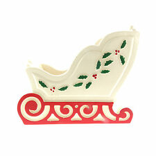 Vintage Wooden Christmas Sleigh Candy Dish Holly Berry 4x6 inch Signed 1986