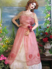 ANTIQUE Victorian Edwardian era ORGANDY organza fabric OVER-SKIRT DRESS pink