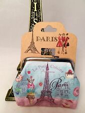 New French Romantic Coin Wallet Paris France Eiffel Tower Arc Triomphe Flower