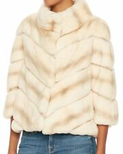 YVES SALOMON REX RABBIT FUR SWING JACKET FR 36 UK 8