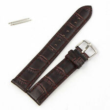 Fast Nice Quality 22 mm Coffee Genuine Leather Watch Band Strap Bars + Battery