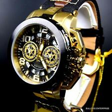 Invicta Reserve Nitro Racing Swiss Leather Nylon Gold Tone Chronograph Watch New