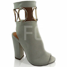 NEW WOMENS FLAT HIGH OPEN HEEL BLOCK PEEP TOE ANKLE BOOTS SHOES SIZE ZIP CUT OUT