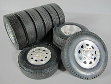 Tamiya R/C 1/14 Aluminum Front & Dual Rear Truck Wheel Rim Tire set King Hauler