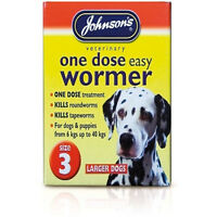 Johnsons One Dose Wormer Tablets Worming Large Dogs Dewomer Upto 40kg Size 3