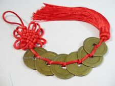 Six Coins Charm Feng Shui Chinese Oriental Lucky Tied I Chin Money Red Tassel