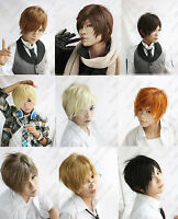 10 Colors Handsome Short Men's Hair Wig Cosplay Wigs +gift WX