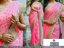 DESIGNER GRACEFUL PINK GEORGETTE SAREE WITH BLOUSE PIECE