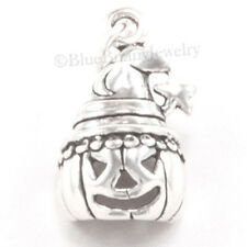JACK O LANTERN Pumpkin Witch Hat 925 Sterling Silver HALLOWEEN Pendant Charm