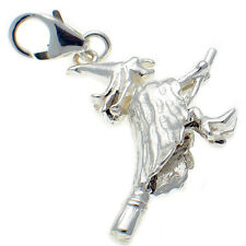 Sterling 925 Silver Large Heavy Witch on Broomstick Clip On Charm