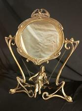 Very Rare Bronze Art Deco Girl / Lady on Swing Vanity Swivel Mirror - Stunning!