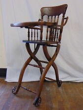 Vintage Heywood Wakefield Antique Oak Wood Childs Baby High Chair Folding