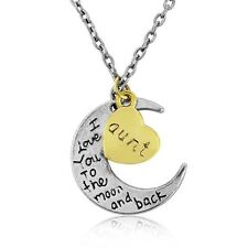 I LOVE YOU to the Moon E Indietro Collana con pendente charm Zietta bella scatola regalo
