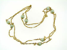 Vintage Textured Brass Victorian Link Light Mint Pearly Lucite Bead Necklace