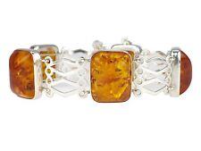 VEB Fischland Damen 835 Silber Poly Poli Bernstein Armband handgefertigt