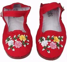 Women's Chinese Mary Jane Floral Sequin Cotton Shoes Slippers Red & Black 5-11