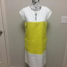 Kate Spade Yellow Off White Color Block Short Sleeve Zip Back Dress 10