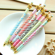 Stripe Body Pen Stationery Office Supplies Crown Ballpen Girls Gift