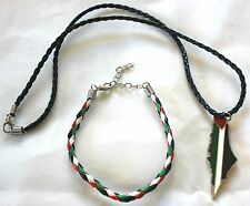 Lot of 2: Palestine Flag Map Necklace & Braided Palestine Flag Bracelet # 12
