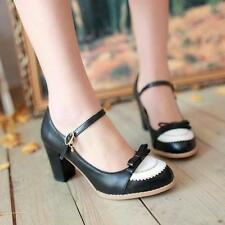 Womens mary Janes Girls Lolita Bow High Heels Pump Vintage Shoe US6=EUR37 Black