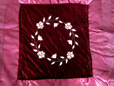 BURGUNDY FULL/QUEEN COMFORTER BEDSPREAD EMBROIDERED FLOWERS JC PENNEY PRE-OWNED